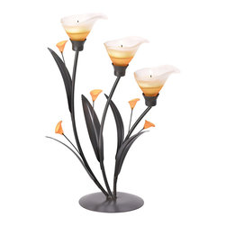 KOOLEKOO - Amber Lilies Tealight Candleholder - Gracious curves and warm amber glass add a strikingly sensual appeal to this three-tealight candelabra. Add the amber glow of candlelight to this elegant Art Nouveau sculpture for a truly stunning display!