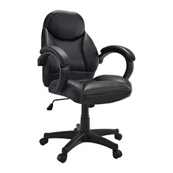 LexMod - Commander Mid Back Ergonomic Executive Office Chair in Black Vinyl - Take it to the next level with the Commander Office Chair. Achieve new ranks as you sit comfortably in the plush padding and ergonomic form. Commander also come with lumbar support, pneumatic height adjustment, a black nylon base, dual wheel carpet casters and a full 360 degree swivel.