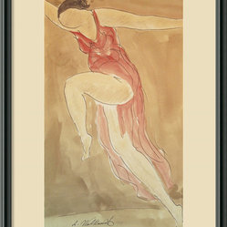 Woman in Red Dancing, 1919 Framed Print by Abraham Walkowitz