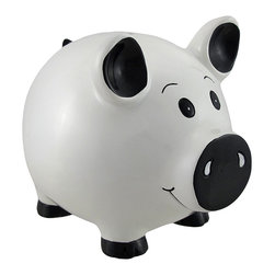 Zeckos - White Piggy Coin Savings Piggy Bank - Remember how your parents taught you the value of a dollar when you were a child? The traditional piggy bank. It has been the staple in teaching children how to save and encouraging smart spending habits. It is now time for you to pass on this tradition with this cute and functional piggy bank. Made of durable polyresin, this piggy bank is hand painted and features a rubber plug at the bottom for easy access to its contents. Measuring 5 1/2 inches long, 4 inches wide, and 5 inches tall this is the perfect way to teach your children the value of a hard earned dollar.