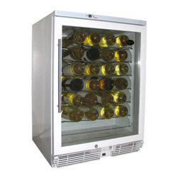 Vinotemp - 58-Bottle Wine Cooler (White) - Vinotemp's 58 bottle models are highly rated and some of our most popular units. This unit is perfect for the kitchen, bar or dining area. It is not suggested to be place in the garage due to volatile external temperature ranges. The unit is designed to be a multi-zone unit. Multi-zone units have one chamber with multiple temperature areas: cooler air is at the bottom for storage of your whites and warmer air is at the top for storage of reds. By not separating the unit into two distinct chambers, Vinotemp keeps more valuable bottle storage space for you.