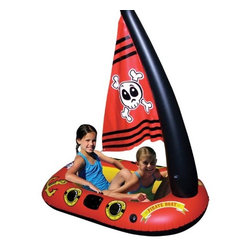 Poolmaster - Pirate Boat - Ahoy me hearties - come sail the high seas in this inflatable pirate boat with sails in search of gold and adventure aboard this colorful and amusing pirate ship.Features oar- locks oars sold separately  and an inflatable mast with skull sail.  This item cannot be shipped to APO/FPO addresses. Please accept our apologies.