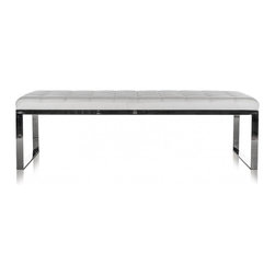 Savina Bench White - Slide a modern bench at the end of your bedroom decor for a contemporary place to sit in the room. Sit in comfort as you get ready for your day or use this richly covered padded bench in the hallway for guests to sit or even in your living room as a stylish sitting space. Set atop a solid metal frame, this durable bench adds an elegant feel to your home decors today!