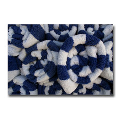 Beach Towels Blue - Print, 36x24 - I can't help it. I've always loved the beach; winter and summer. These towels were stacked on a table near the shore down in Miami. Two colors and spirals. Simple comfort.
