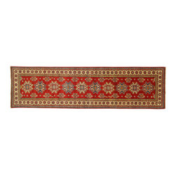 Manhattan Rugs - New Super Kazak Oriental Runner 3x11 Hand Knotted Red Rug Mesa Collection H3370 - Kazak (Kazakh, Kasak, Gazakh, Qazax). The most used spelling today is Qazax but rug people use Kazak so I generally do as well.The areas known as Kazakstan, Chechenya and Shirvan respectively are situated north of� Iran and Afghanistan and to the east of the Caspian sea and are all new Soviet republics.�� These rugs are woven by settled Armenians as well as nomadic Kurds, Georgians, Azerbaijanis and Lurs.� Many of the people of Turkoman origin fled to Pakistan when the Russians invaded Afghanistan and most of the rugs are woven close to Peshawar on the Afghan-Pakistan border.There are many design influences and consequently a large variety of motifs of various medallions, diamonds, latch-hooked zig-zags and other geometric shapes.� However, it is the wonderful colours used with rich reds, blues, yellows and greens which make them stand out from other rugs.� The ability of the Caucasian weaver to use dramatic colours and patterns is unequalled in the rug weaving world.� Very hard-wearing rugs as well as being very collectable