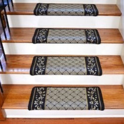 "Dean Flooring Company - Dean DIY Bullnose Wraparound Non-Skid Carpet Stair Treads - Black Scroll Border - Dean Modern DIY Bullnose Wraparound Non-Skid Carpet Stair Treads - Black Scroll Border : Non Skid Modern Bullnose Wraparound Stair Treads By Dean Flooring Company. Protect stairs and steps in style and comfort with good looking, long wearing stair treads. Rectangular shaped, finished edge style in durable long-lasting nylon quality construction. Perfect for heavily trafficked areas. Helps prevent slips for you and your pets on your hardwood stairs. Protects your hardwood from wear and tear. Non-skid foam rubber back. Cuts down on track-in dirt. Extends the life of your hardwood stairs. Easy to keep clean-spot clean and vacuum. Edges are finished with color matching yarn. Easy do-it-yourself installation with included advanced adhesive roll. Will not damage your flooring. Easy to remove. Will not leave sticky residue. Each tread is approximately 26"" x 12"" (Covers 10""). Set includes 13 stair treads. Add a touch of warmth and style to your home today with stair treads from Dean Flooring Company!"