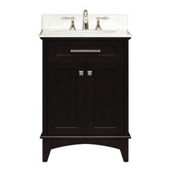 "Water Creation Inc. - Manhattan Collection 24"" Wide Single Sink Vanity - The Water Creation Manhattan Collection 24"" single sink bathroom vanity is perfect for the bathroom project that demands a striking focal point. This Espresso finished vanity features 2 doors and a Carrara White Marble counter top with backsplash. The counter top is pre-drilled for 8"" wide spread lavatory faucets."