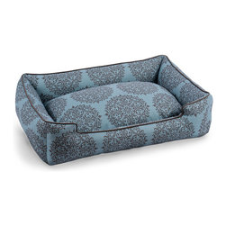 "Milan Teal Pet Lounge - 24"" x 18"" - Delicate damask medallions on a backdrop of ultra-luxurious, upholstery-weight cotton fabric give polish and appeal to the Milan Teal Pet Lounge, while the chocolate-colored piping that gives its walls their crisp finish also defines the on-trend marine color and brings out the lacy detail of the pattern. This machine-washable pet bed offers a striking look along with canine comfort."