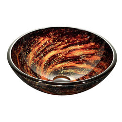 VIGO Industries - VIGO Northern Lights Glass Vessel Bathroom Sink - The VIGO Northern Lights glass vessel bowl features a reddish-orange swirl pattern over a dark black-brown color; resembling a view into outer space.