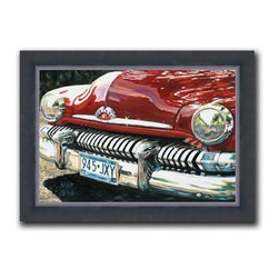 """Mark Peterson - Merc Grill 12 x 16 Print - """"Merc Grill"""" is a canvas giclee of the front of the antique automobile by Mark Peterson. We present this to you in a 2"""" contemporary, faux black leather frame. This makes an overall framed size of 12 x 16."""