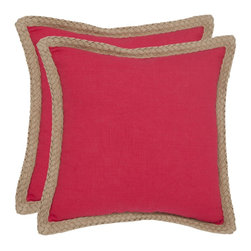 Safavieh - Safavieh Sweet Serona 18-inch Red Decorative Pillows (Set of 2) - Color-blocking steps off the runway and into the home with a stunning solid color accent pillow in clear red linen fabric contrasted with natural rope binding of sustainable jute fiber.