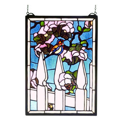 """Meyda - 13""""W X 18""""H Picket Fence Stained Glass Window - Fondly recall simpler days of front porch gliders andwhite picket fences with meyda tiffany's originalpicket fence window. Handcrafted utilizing the copper foil construction process and 204 pieces ofstained art glass encased in a solid brass frame, eachwindow is a unique creation to be forever treasured.mounting bracket and jack chain included."""