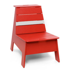 Loll Designs - Loll Designs Apple Red Racer Lounge Chair - Vibrant and cheerful, this classic schoolhouse-style chair is made modern in a cherry red hue with a bright white accent stripe. Handle cutouts on the seat and upper ledge of the backrest make for easy arrangement and flexibility in your outdoor space, and the small bin on back allows you to store magazines, sunscreen, and other summer essentials. A stainless steel bottle opener in the upper shelf is an added bonus. As a member of the 1% for the planet organization, Loll Design donates 1% of its gross sales to a worldwide network of environmental organizations. Crafted from recycled plasticDurable and weather-resistant for outdoor useBottle-opener included in the upper shelfStorage bin installed behind backrestEasy assembly, versatile seating optionsShips in 6 weeks