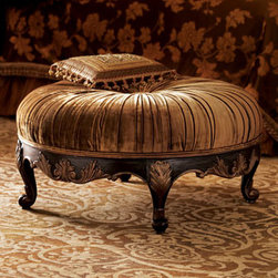 "Massoud - Massoud ""Scala"" Ottoman - Exclusively ours. Center your living space with this elegant carved ottoman. Handcrafted mahogany frame. Gathered velvet with a single button tuft. Hand-brushed metallic finish. 39""Dia. x 21""T. Made in the USA of imported materials. Boxed we..."