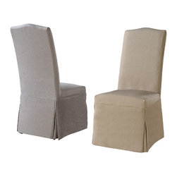 Modus Furniture International - Camden Linen Parsons Chair with Beige Tan and Gray Slipcovers (set of 2 chairs) - Dressed or undressed, the Monroe collection blends slipcovers and color choices with classic parsons chair design.  Each Monroe chair is upholstered in a beige polyester linen with espresso wood legs and includes beige, tan and gray slipcovers.
