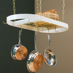 The Gourmet Oval Pot Rack - Keep your most important chef's tools within easy reach with The Gourmet Oval Kitchen Pot Rack. Organize your kitchen the way the pros do. You'll never scorch a roux while looking for looking for a sauce pan again. (We hope.) This solid steel oval-style pot rack includes eight movable hooks 18-inch hanging chains and all mounting hardware. It is available in a variety of finishes. Made in the U.S.A. Note: This product does not include the grid-style top rack featured in the picture. Finish Details: Black: black rack with chrome hooks and chainsHammered steel: hammered steel rack with chrome hooks and chains