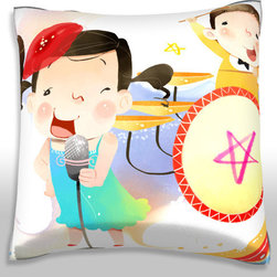 Custom Photo Factory - Girls Boys Playing Musical Instrument. Polyester Velour Throw Pillow - Girl Singing into Microphone and Boys Playing Musical Instrument.