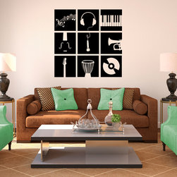 Music Instruments Stencil Wall Decal -