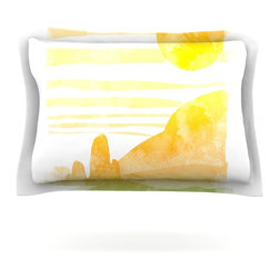 "Kess InHouse - Frederic Levy-Hadida ""Landscape Painted With Tea"" Orange Coastal Pillow Sham (Co - Pairing your already chic duvet cover with playful pillow shams is the perfect way to tie your bedroom together. There are endless possibilities to feed your artistic palette with these imaginative pillow shams. It will looks so elegant you won't want ruin the masterpiece you have created when you go to bed. Not only are these pillow shams nice to look at they are also made from a high quality cotton blend. They are so soft that they will elevate your sleep up to level that is beyond Cloud 9. We always print our goods with the highest quality printing process in order to maintain the integrity of the art that you are adeptly displaying. This means that you won't have to worry about your art fading or your sham loosing it's freshness."