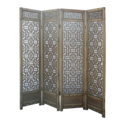 Golden Lotus - Set/ 4pcs Chinese Double Sides Geometric Pattern Carving Room Divider Panel - Look at this room divider panel which is made of solid elm wood.  It comes set four pieces, and each one has double sides carving on it.  The bottom of panel has Chinese four seasons carving on it.  It is perfect to put in your house as room divider panel.
