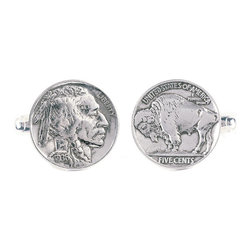 Frontgate - Buffalo Gray Cufflinks - Made of authentic Buffalo nickels, which were designed by James E. Fraser. Feature sterling silver findings. Comes with a certificate of authenticity and an elegant box for gift-giving. Perfect for a gentleman who is intrigued by American history or has a collection of cufflinks, each of our Buffalo Nickel Cufflinks is made of a real Buffalo nickel. Minted from just 1913 to 1938, these coins have become cherished keepsakes. One cufflink presents the Buffalo side of the nickel, while the other displays the side featuring a composite portrait of three prominent Native Americans: Iron Tail, Two Moons, and Chief John Tree.  .  .  .