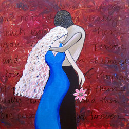 """Groovy Gal Designs Online - Lovers Acrylic Painting 24"""" x 24"""" - """"Lovers"""" ...ah, love! Romantic love! Cozying up with the one you love. This vibrant piece features a couple in an intimate embrace, surrounded by this quote: """"You meet thousands of people, and none of them really touches you...and then you meet one person, and your life is changed forever."""" So true! The textured background is done in shades of red, purple, and hints of blue, with some fiery oranges in the mix. It measures 24"""" x 24"""" with black painted sides--ready to hang right out of the box!"""