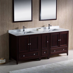 "Fresca - Fresca Mahogany Traditional Double Sink Bathroom Vanity & Cabinet - The Oxford 72"" vanity from Fresca provides a stylish yet highly practical storage solution for toiletries and bathroom linen. Featuring a traditional design and a beautiful Mahogany finish, this vanity with side cabinet and solid wood frame is perfect for creating a timeless and elegant look to any bathroom. This vanity includes the ceramic undermount sinks and quartz counter top. Oxford Bathroom Vanity Details:   Dimensions: 72W x 20 3/8D x 32 5/8H Solid wood frame Quartz stone counter top Ceramic undermount sinks Dove tail drawers Finish: Mahogany Please note: faucet not included"