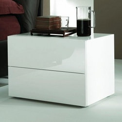 Bontempi Casa - Bontempi Casa | Lux Bedside Table - Made in Italy by Bontempi Casa. Simple yet elegant, the Lux Bedside Table provides ample bedside storage in two well-proportioned drawers. With a slick glossy painted finish and no obtrusive pulls or handles, the Lux Bedside Table maintains a refined, minimalist approach. Available in White or Sand.