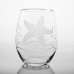 Rolf Glass - Starfish White Wine Tumbler, Clear, 21 Oz. - Our Starfish design offers a different seascape pattern on every shape. Seagrass, starfish, bubbles, a lone fish, giving each glass a distinctive charm.  Made in USA.