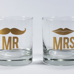 "Mr. & Mrs. Cocktail Glass Set - This set with a gold imprint of ""Mr"" and ""Mrs"" is perfect for newlyweds!"