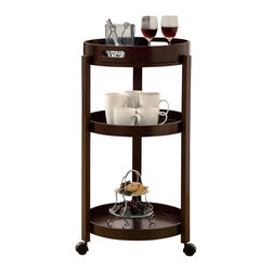 Monarch Specialties - Monarch Specialties Casual Tea Cart with Serving Tray in Cappuccino - Add an unparalleled appeal to you bar area with this modern styled bar cart. It features clean edges, straight legs, and a rich solid-wood cappuccino finish that add a bold element to your area. Its black casters make it easy to move the cart from room to room or serve your guests! Three spacious shelves and a removable serving tray offer plenty of space, ideal for making drinks and storing your bar accessories, making this piece appropriate for both casual and formal dining occasions. What's included: Tea Cart (1).