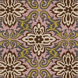 Amy Butler Rugs - Amy Butler Temple Garland Rug - Pink - Amy Butler Rugs - Designed by Amy Butler and made by master craftsmen and craftswomen. These rugs are truly handmade. From the hand-tufting & dying of the 100% New Zealand wool, to the hand-carving of the designs by masters using special scissors. Inspired by rich carvings in temples that celebrate life, this print is cheerful and graphic!