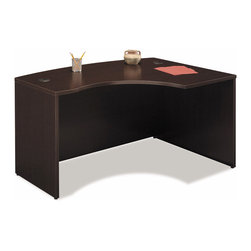 Bush Business - Right L Bow Desk - Series C - This mocha cherry desk will bring a contemporary, minimalistic flair to your home office.  The desk is designed to allow the user to conceal any computer cables, ensuring that the desk is clutter free.  The melamine surface is scratch and stain resistant and the durable PVC edge banding will protect your desk from bumps and scrapes. * User can face approach side with keyboard access and greater computer screen privacy. Desktop & modesty panel grommets for wire access and concealment. Melamine surface resists scratches and stains. Durable PVC edge banding protects desk from. 58.858 in. W x 42.874 in. D x 29.842 in. H