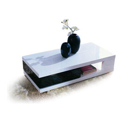 MODERN BLACK AND WHITE RECTANGULAR COFFEE TABLE HANNO - Hanno coffee table features one of the most functional and original designs. This is due to glossy black drawer box that can be swivel out from the under the table top. This glossy occasional table would perfectly fit into your modern design living space.