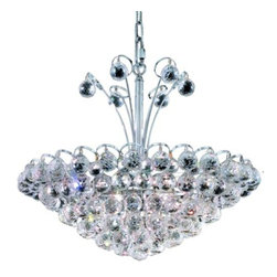 """PWG Lighting / Lighting By Pecaso - Brigitte 8-Light 22"""" Crystal Chandelier 6890D22C-EC - Drawing on the Empire style, the Brigitte Collection is transformed with a contemporary edge to create a dramatic explosion of brilliance. The Crystal Flush Mounts and smaller pendants provide a brilliant display of color bringing a decorative drama to any setting."""