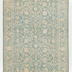 Rug Knots - Blue and Ivory Silk Rug with Borders Size: 6x9 - This graceful Oriental rug features soft colors and an elegant design. Display it against dark wood floors for contrast.