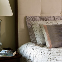 Bedrooms - Neutral upholstered headboard with coordinating duvet, shams & pillows