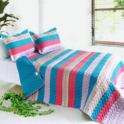 Blancho Bedding - [Colorful Sky] Cotton 3PC Vermicelli-Quilted Striped Quilt Set (Full/Queen Size) - Features intricate machine/hand-stitching patterns and beautiful prints with timeless appeal.