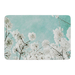 "KESS InHouse - Iris Lehnhardt ""Flowering Season"" Teal White Memory Foam Bath Mat (17"" x 24"") - These super absorbent bath mats will add comfort and style to your bathroom. These memory foam mats will feel like you are in a spa every time you step out of the shower. Available in two sizes, 17"" x 24"" and 24"" x 36"", with a .5"" thickness and non skid backing, these will fit every style of bathroom. Add comfort like never before in front of your vanity, sink, bathtub, shower or even laundry room. Machine wash cold, gentle cycle, tumble dry low or lay flat to dry. Printed on single side."