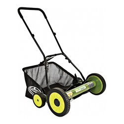 "Snow Joe - Manual Reel Mower 20"" - Sun Joe Mow Joe 20"" Manual Reel Mower with Catcher for medium lawns, 20"" cutting width, tailor cutting heights up to 2.44"" deep, 5 steel blades, 6.6 gallon grass catcher capacity, 9-position manual height adjustment, compact design and easy to assemble, comfortable foam grip, weight: 30 pounds."
