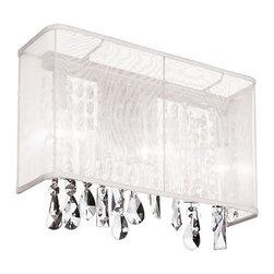 Dainolite - Dainolite 85306W-44-119 1 Light Wall Sconce Pc Finish - Dainolite 85306W-44-119 1 Light Wall Sconce PC Finish White Organza Rectangular Shade