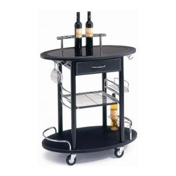 New Spec - Pub Minibar Cart - Color/Finish: Black. Material: Tempered Glass/Metal Frame. . 31.5 in. L x 18.9 in. W x 34.65 in. H (42 lbs)
