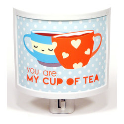 Common Rebels - 'Cup of Tea' Night-Light - Let a little one sleep peacefully thanks to this warm and gentle night-light. The charming illustration and adorable message will look great in any nursery or bedroom and add a fun touch to décor.   4.25'' W x 3.75'' H x 1.5'' D Plastic / glass Requires C7 bulb (included) Made in the USA
