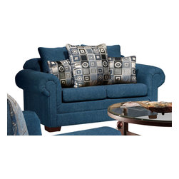 Chelsea Home Furniture - Chelsea Home Marsha Loveseat in Tahoe Navy/Boomerang Navy - Marsha loveseat in Tahoe Navy/ Boomerang Navy belongs to Liberty collection by Chelsea Home Furniture.