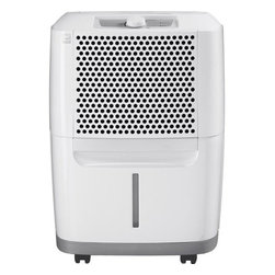 Frigidaire A/C - 30 Pint Dehumidifier - The Frigidaire FAD310NWD Energy Star 30-pint Dehumidifier protects your home from mold and mildew caused by excess moisture. It also helps eliminate bacteria in the air that can make breathing difficult. Frigidaire's 30 pints-per-day dehumidifier is capable of continuous operation when the unit is located near a suitable drain. It features top-center mechanical controls, an easily accessible collection container with level indicator, and a washable filter that reduces bacteria, room odors and other airborne particles. Its manual, relative humidity range is between 35% and 85%. The Space Wise portable design includes a top handle, integrated side handles and caster wheels making it easy to move your unit from room to room. Plus, you'll save money with its Energy Star efficiency.