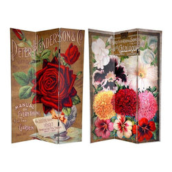 Oriental Furniture - 6 ft. Tall Double Sided Flower Seeds Canvas Room Divider - Roses - This room divider features beautiful photographic reproductions of vintage, turn of the century seed catalogue art. The front is the cover of the Peter Henderson Co. Manual of Everything for the Garden, depicting a lush, dark red rose. The back is from a Brother on Sons Catalogue, featuring chrysanthemums, irises, and snap dragons in a spectrum of, red, yellow, pink white. These lovely renderings provide intriguing vintage commercial graphic art for your living room, bedroom, dining room, or kitchen. This three panel screen has different images on each side, as shown.