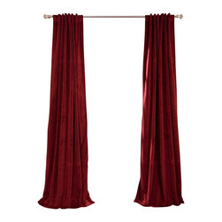 Exclusive Fabrics & Furnishings, LLC - Signature Burgundy Blackout Velvet Curtain - 100% Poly Velvet. 3 Pole Pocket with Back Tab (Hidden Tab) & Hook Belt Header. Plush Blackout Lining. Imported. Dry Clean Only.