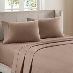 """Premier Comfort - Premier Comfort Supreme Luxury 800TC Sheet Set - Premier Comfort presents the Supreme Luxury sheet set, which is just that, truly luxurious. Lounge around in this 800 thread count sheet set, made from 100% cotton sateen for an incredibly soft feel. Flat and fitted sheet as well as pillowcases have a filled piping on the hemming for extra detailing while fitted sheet has a 15"""" pocket size and fits mattresses up to 17"""". This luxurious sheet set come in three beautiful colors of ivory, blue, and mocha. 800TC cotton sateen sheet set"""
