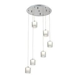 Ohr Lighting® - Ohr Lighting® LED Ribbed Crystal Pendant Light - 6 Pendants, White/Iron - Features