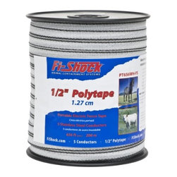"WOODSTREAM CORPORATION - PT656WH-FS 1/2 IN. POLY TAPE - FI-SHOCK 1/2"" 5-STRAND POLY TAPE  Horses & other animals will be able to see this-  1/2"" highly visible poly tape easier than wire  656 foot spool of 1/2"" wide tape has 5 strands -  of electrical conductors  Breaking load of 150 lb. - will not rust  Poly tape is easy to install, repair and splice  Not designed to function under extreme tension  Use in conjunction with a permanent fence    PT656WH-FS 1/2 IN. POLY TAPE  SIZE:1/2"" x 656 Ft.  COLOR:White/Black"